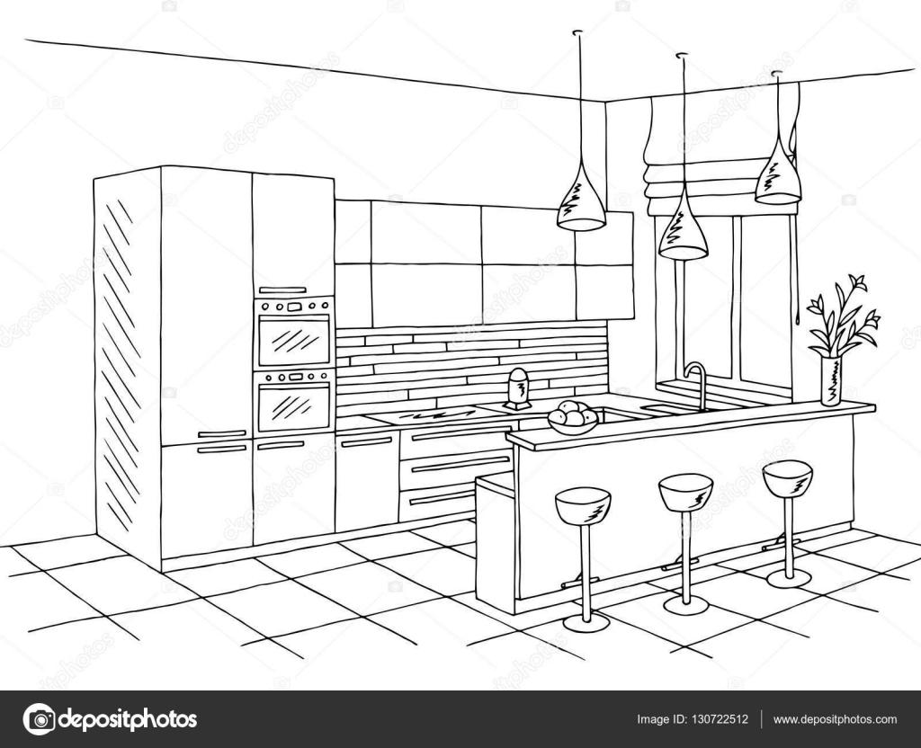 Croquis de cuisine chambre int rieur noir blanc art for Art cuisine rm 101 blanc