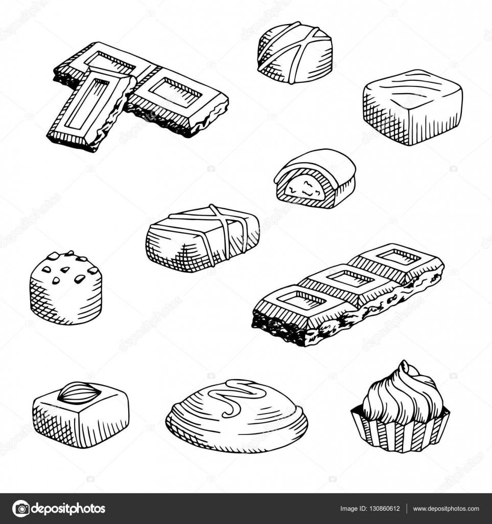 Chocolate Graphic Set Black White Isolated Sketch Illustration