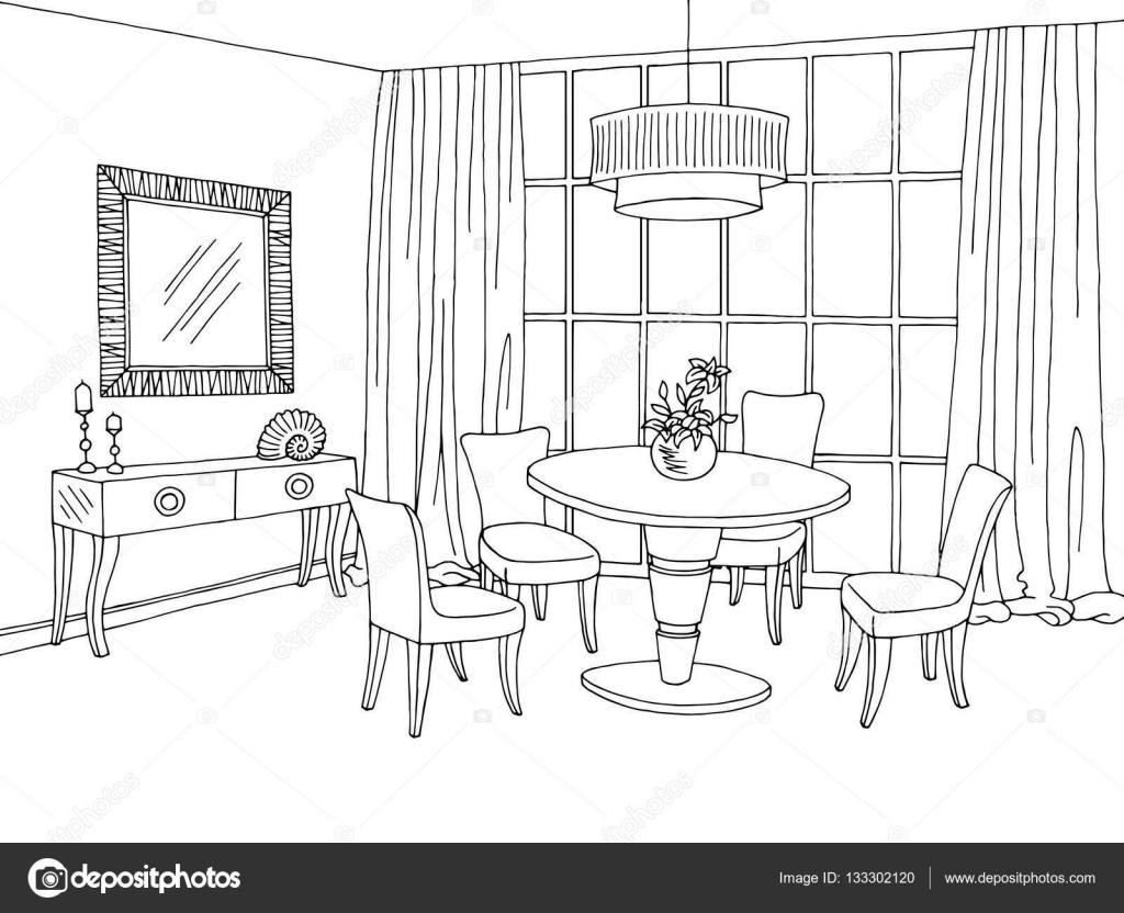 Vector de ilustraci n gr fica dibujo blanco negro comedor for Dibujo de comedor escolar