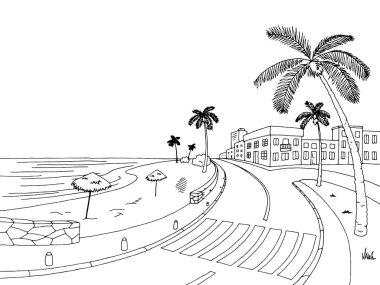Street road palm tree graphic black white landscape sketch illustration vector