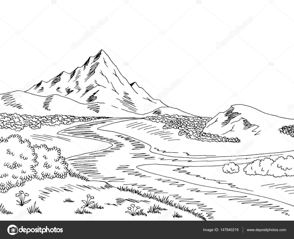 illustration river black and white mountain river graphic black white landscape sketch illustration vector stock vector c aluna11 147840219 https depositphotos com 147840219 stock illustration mountain river graphic black white html