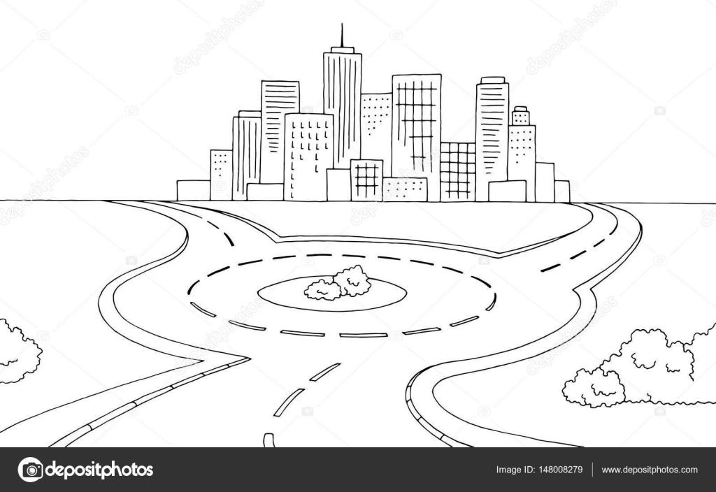 Dibujos: dibujo de carreteras para colorear | Vector de rotonda ...