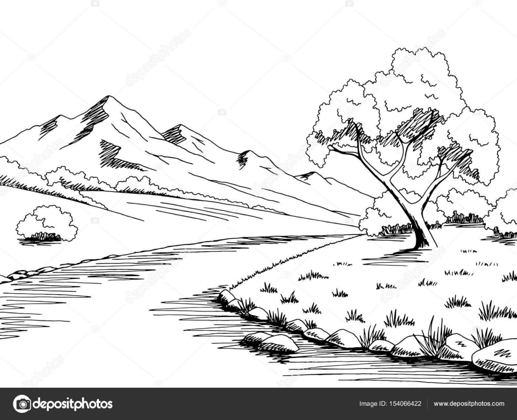 mountain river graphic black white landscape sketch illustration vector stock vector c aluna11 154066422 https depositphotos com 154066422 stock illustration mountain river graphic black white html