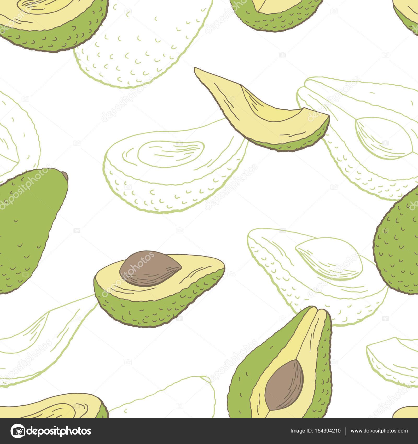 Avocado-Frucht Grafik Farbe Musterdesign Skizze Abbildung Vektor ...