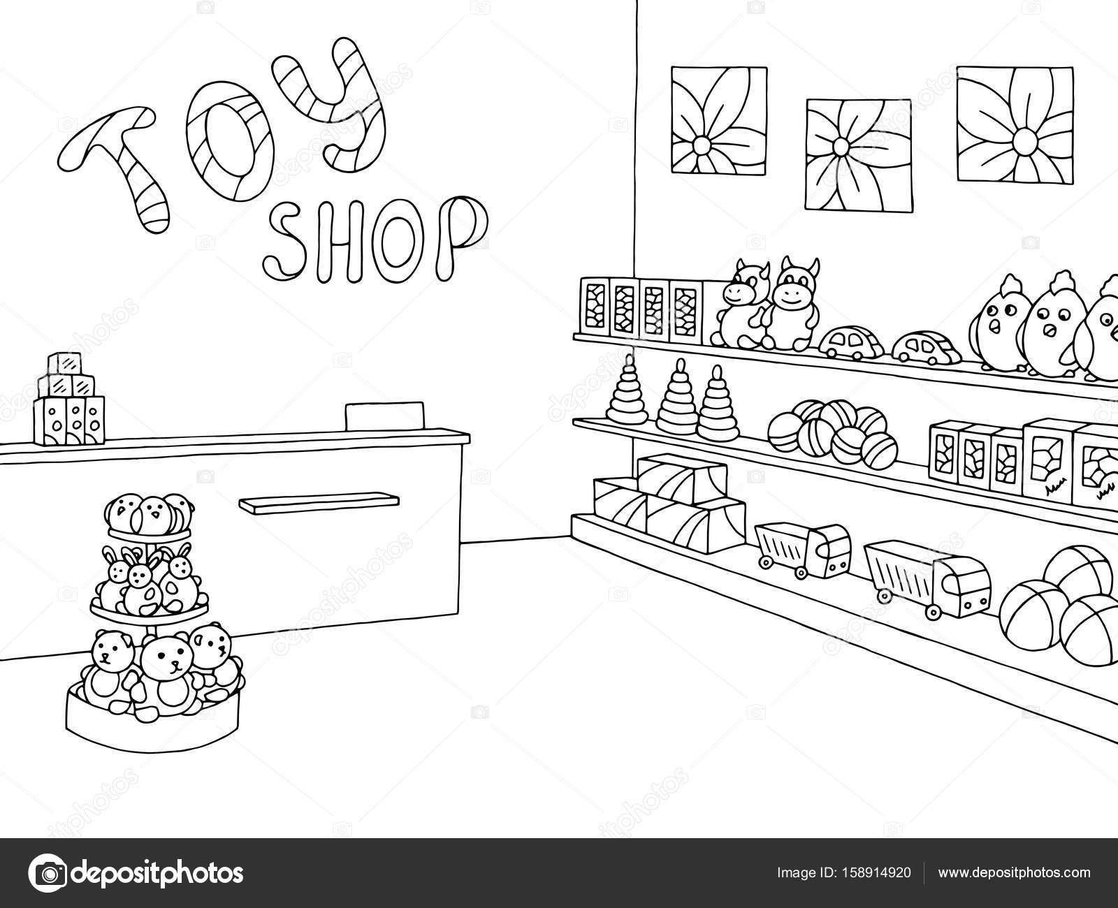 Toy shop graphic black white interior sketch illustration ...
