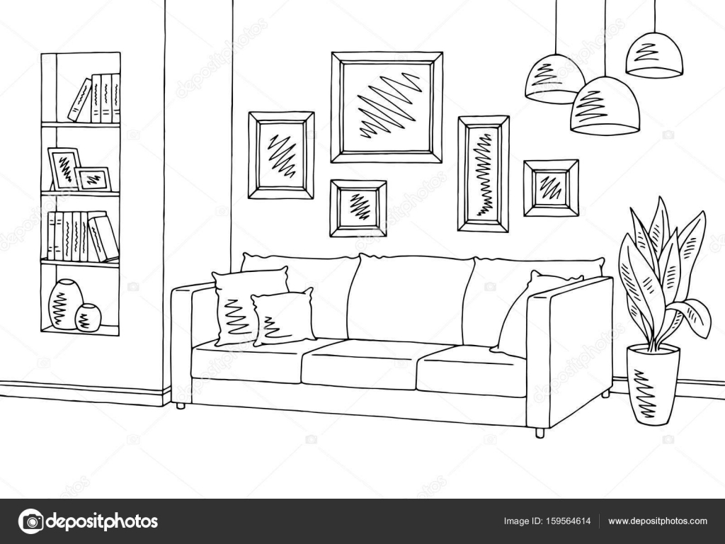 High Quality Living Room Graphic Black White Interior Sketch Illustration Vector U2014 Stock  Vector