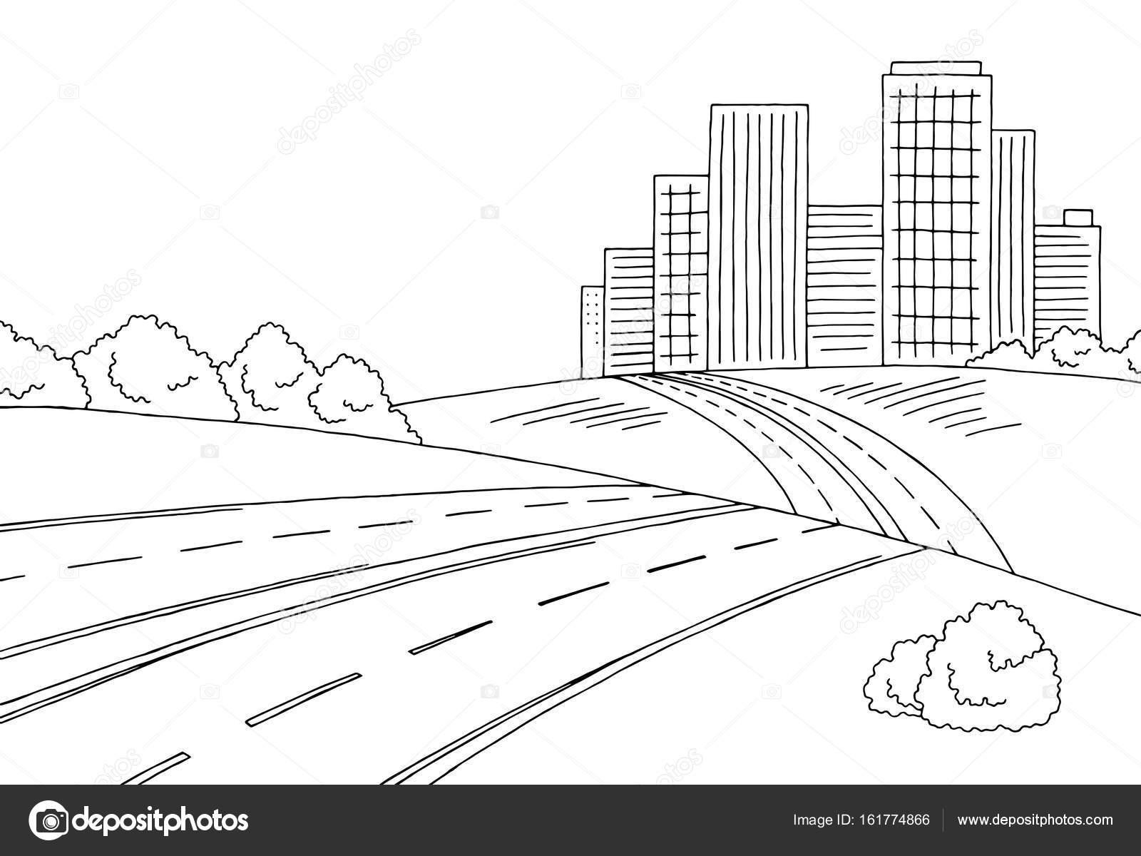 Vector ilustración del bosquejo gráfico negro blanco paisaje de ...