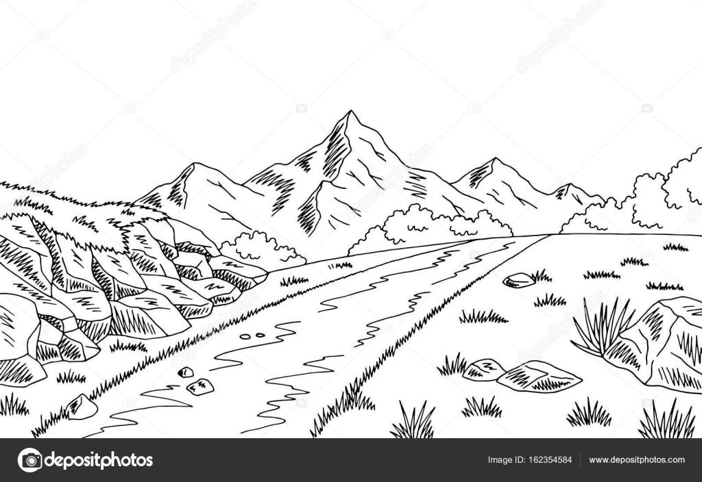 Imágenes Paisajes De Montaña Para Colorear Vector Ilustración Del