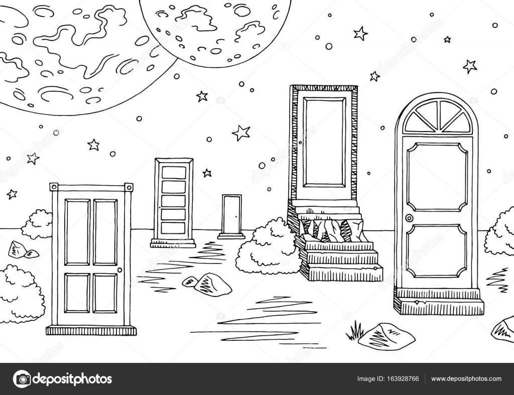 Dibujos Para Colorear De Puertas Y Ventanas Vector De