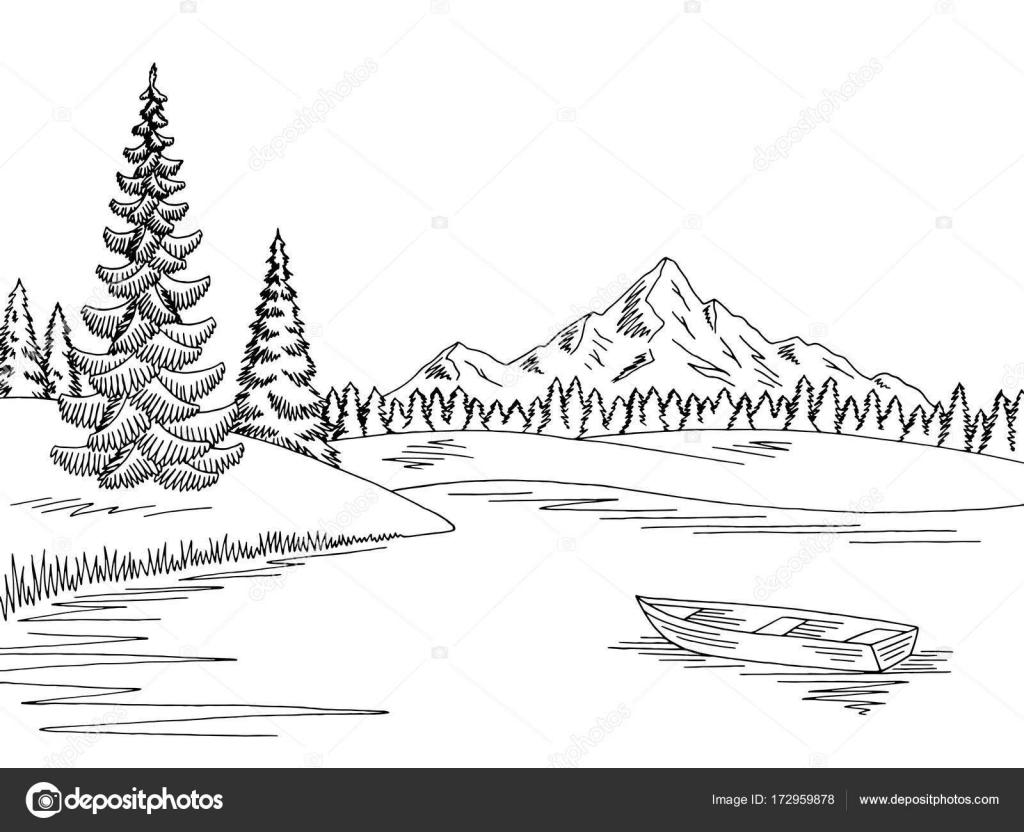 Puente Sobre El Lago Para Colorear Vector Ilustración Del