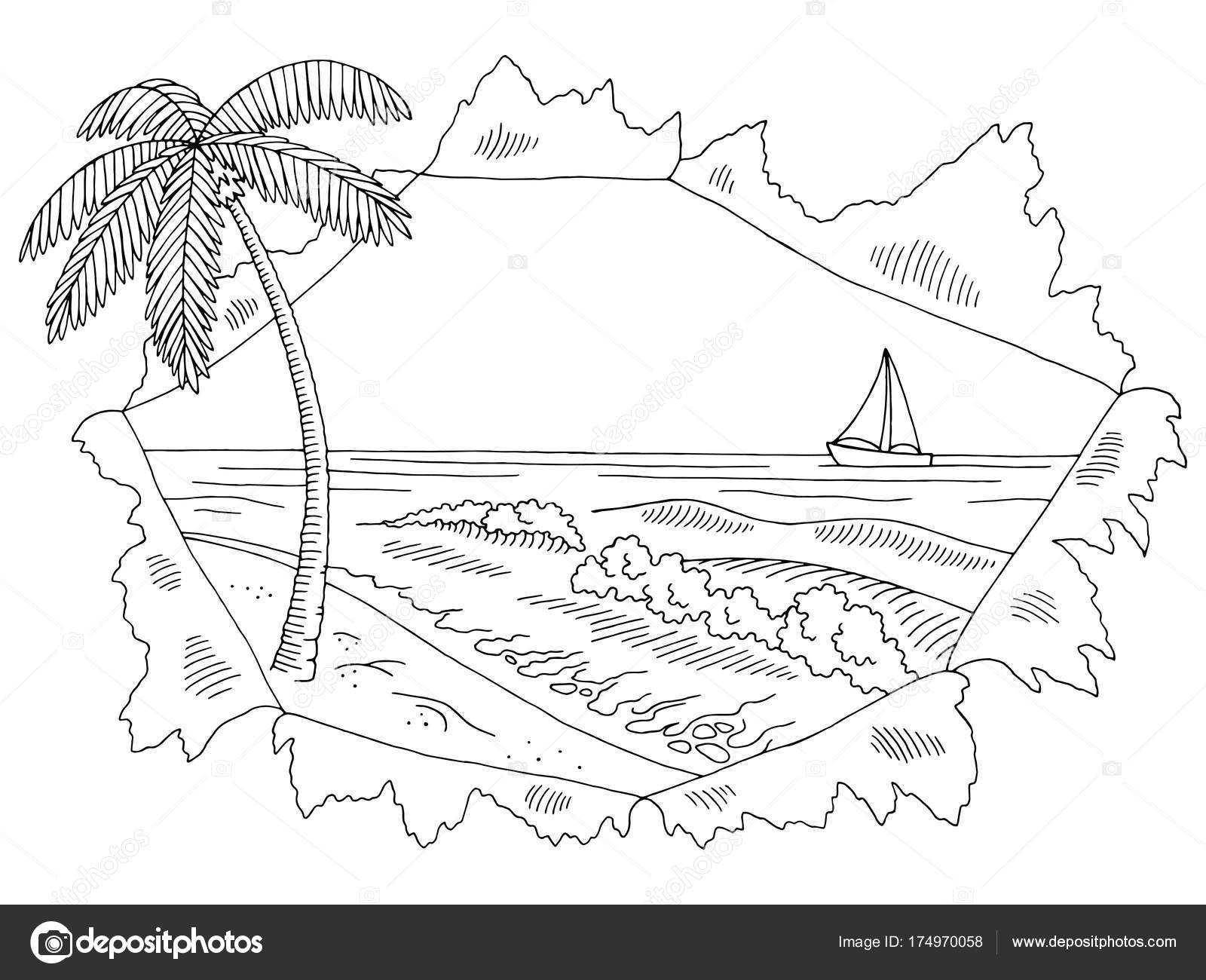 Paisaje Litoral Para Colorear Mar Costa Papel Agujero Gráfico