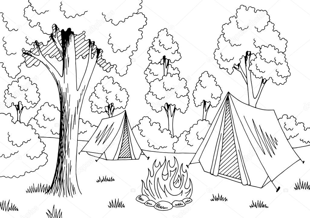 camping forest graphic black white landscape sketch
