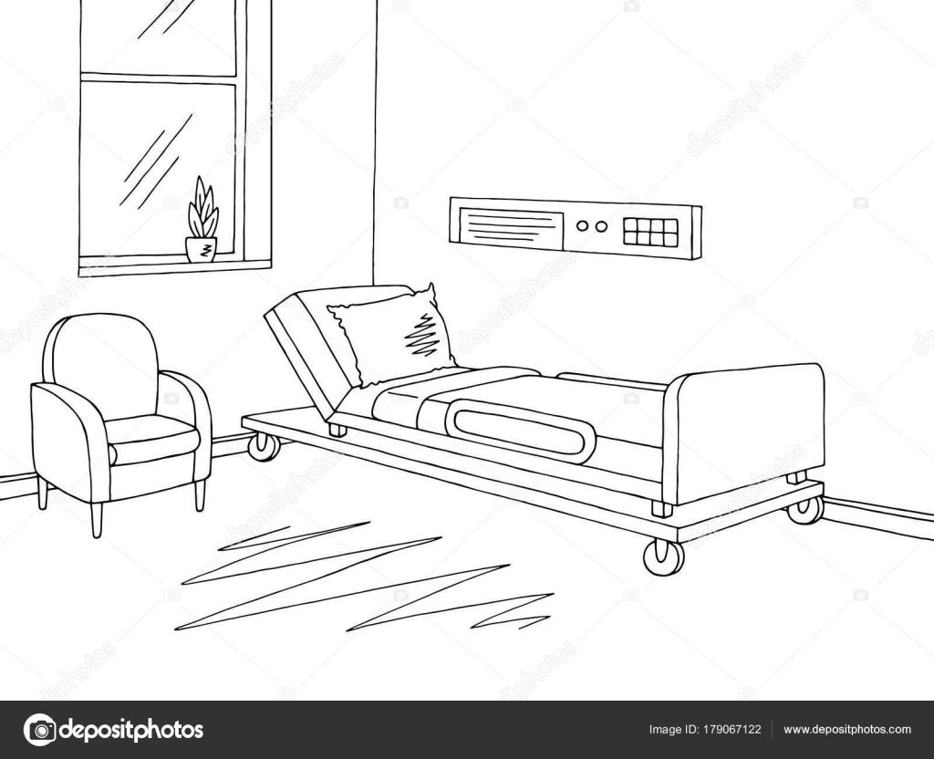Vector Ilustración Del Bosquejo Hospital Ward Gráfico Negro Interior ...