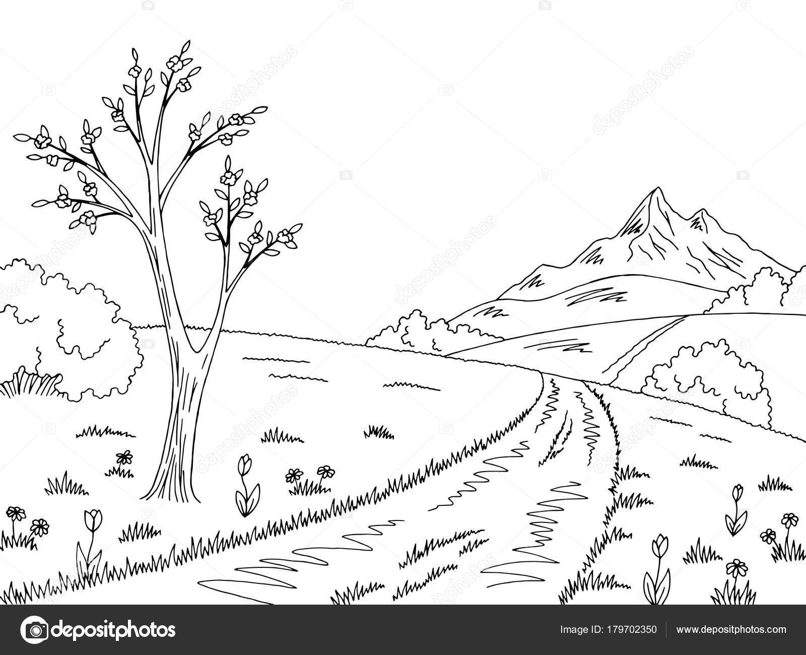 montanha estrada gráfico preto branco primavera paisagem desenho