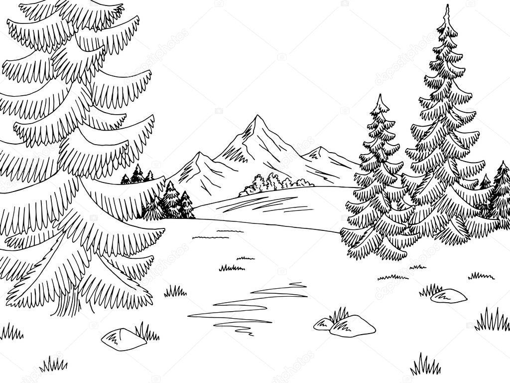 Gráfico Negro Blanco Paisaje De Bosque Glade Sketch