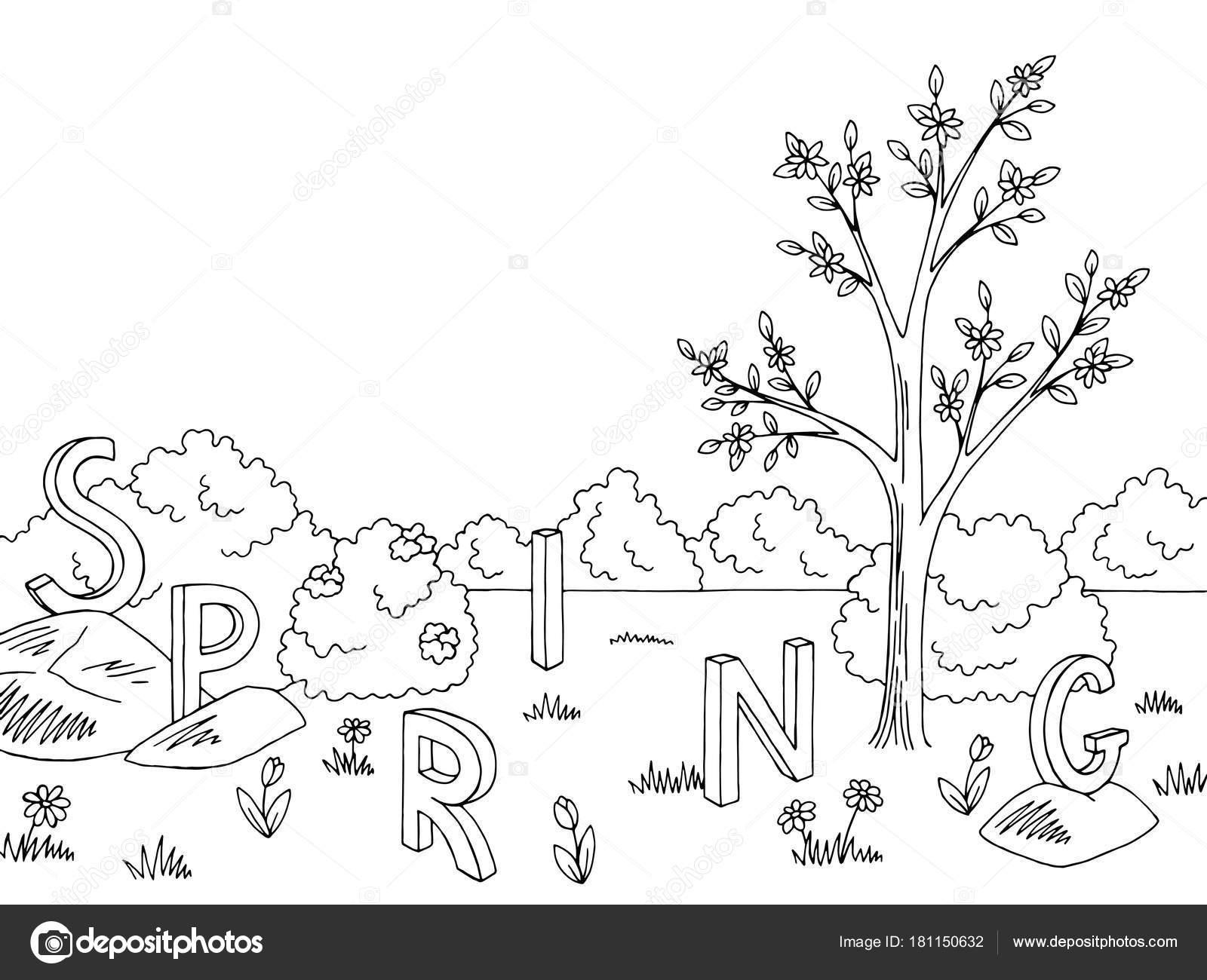 Árvore de gráfico preto branco paisagem primavera desenho ilustração