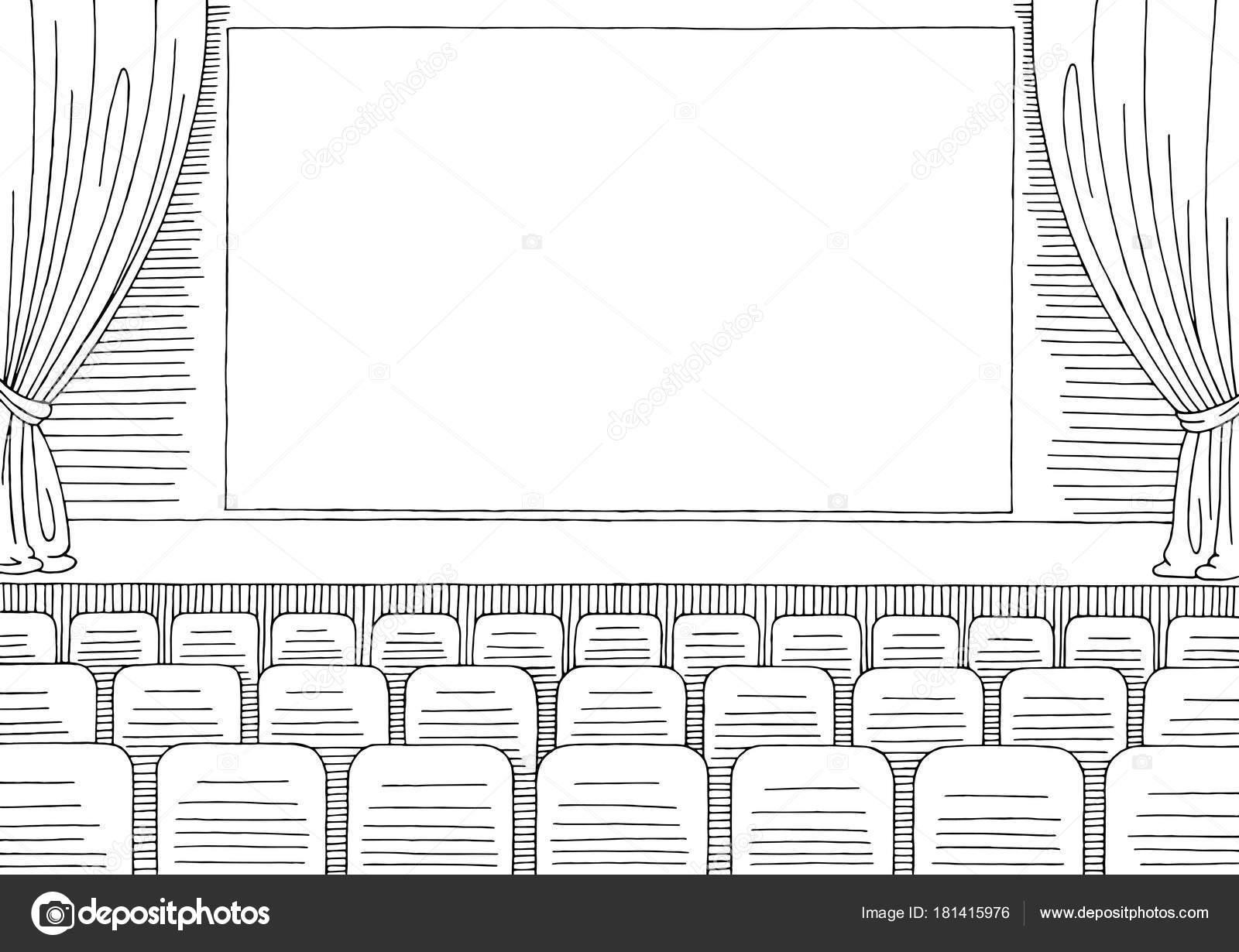 Imágenes Cine Para Colorear Vector Ilustración Cine Interior