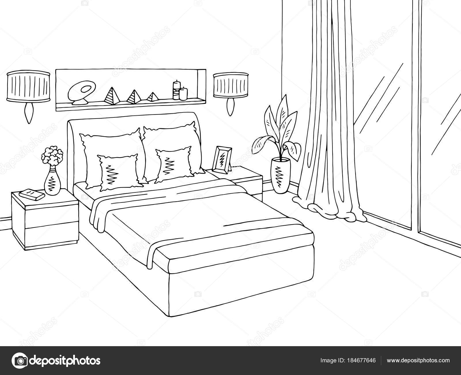 Bedroom Graphic Black White Home Interior Sketch Illustration Vector on dark interior design, modern minimalist house design, ceiling lighting interior design, modern hotel bar and lounge interior design, black interior designers, nordic interior design, all black and white interior design,