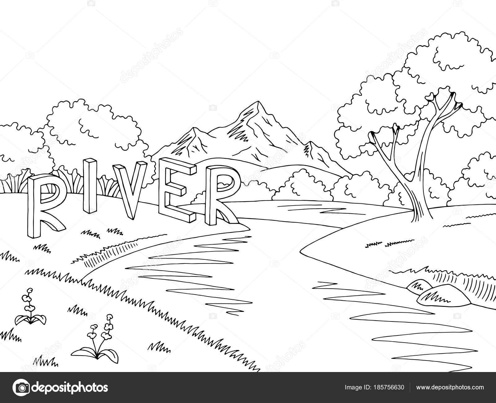 Paisaje Con Cascada Para Colorear Vector Ilustración Del Bosquejo
