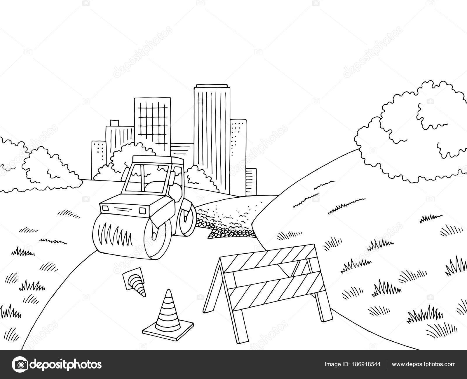 Paisaje Ciudad Blanca Negro Gráfico Construcción Carretera Sketch ...
