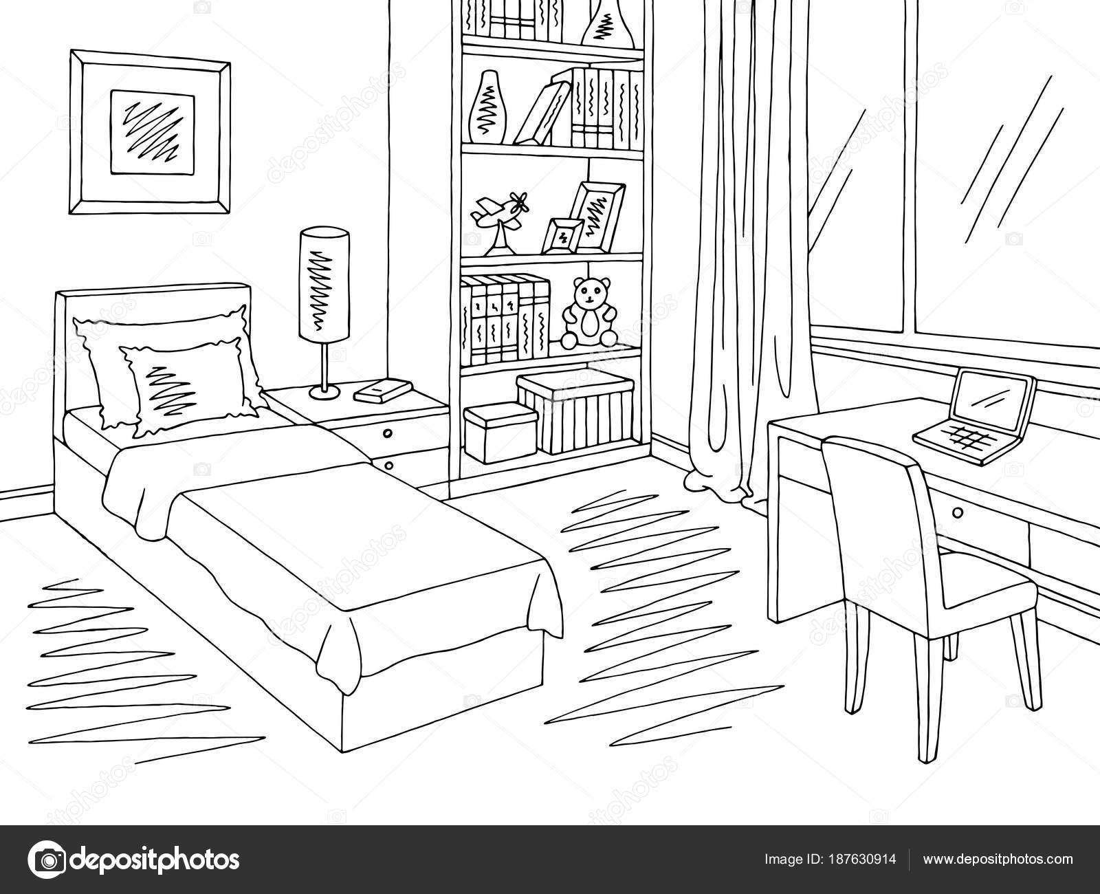 Kinder Zimmer Grafik Schwarz Weißen Innenraum Skizze