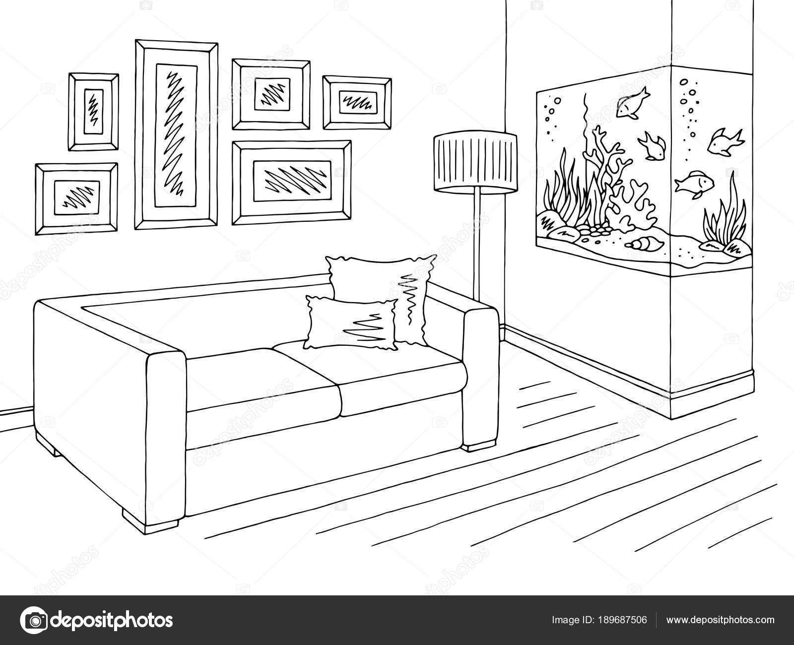 Living Room Graphic Black White Aquarium Interior Sketch ...