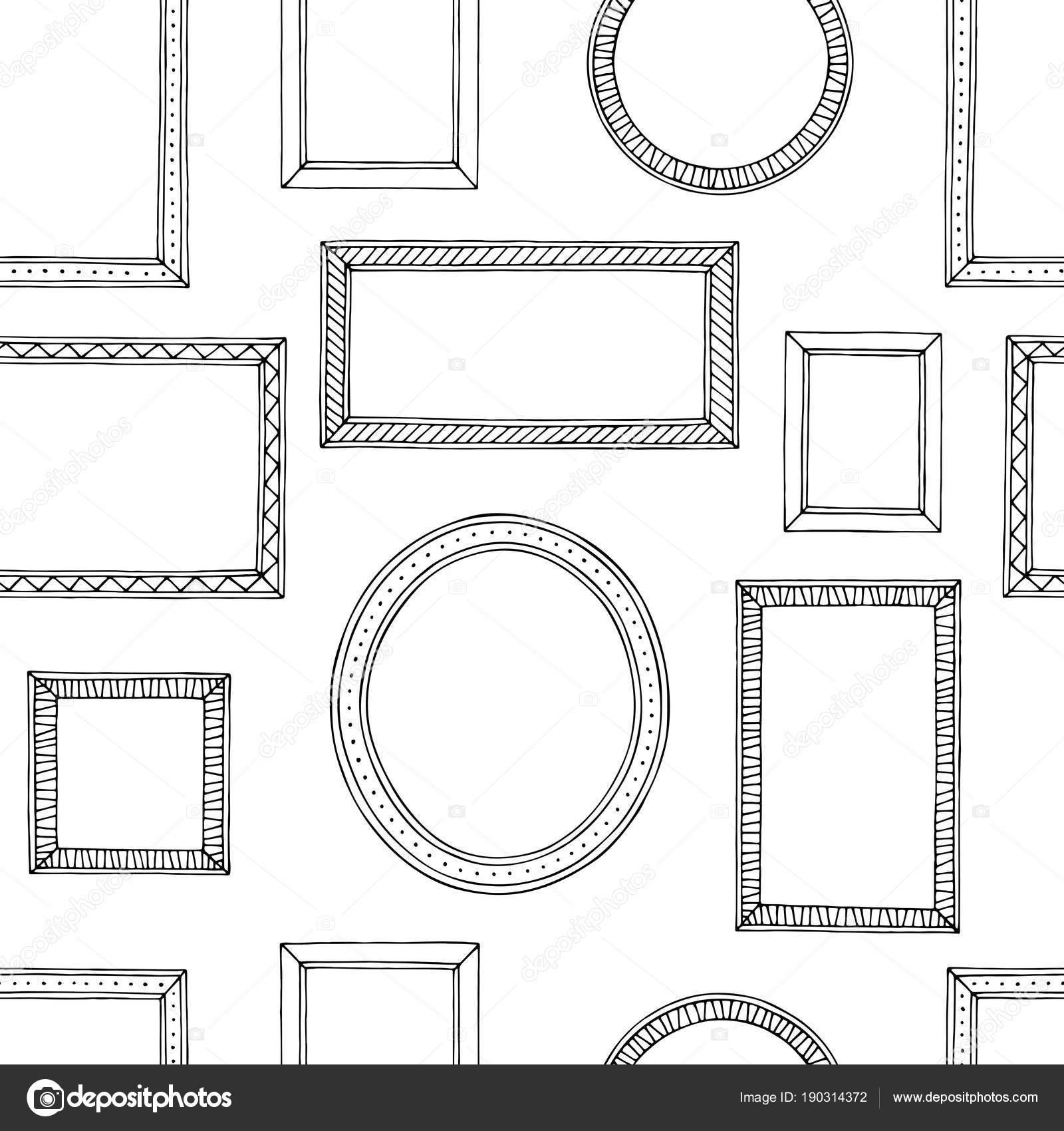 Bild Rahmen Grafik schwarz weißen Musterdesign skizzieren ...