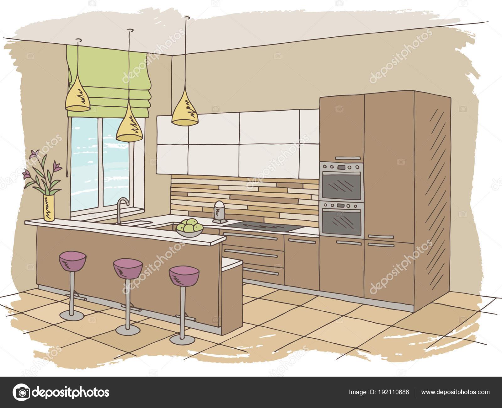 Küche Zimmer Innenfarbe grafik Illustration Vektor skizzieren ...
