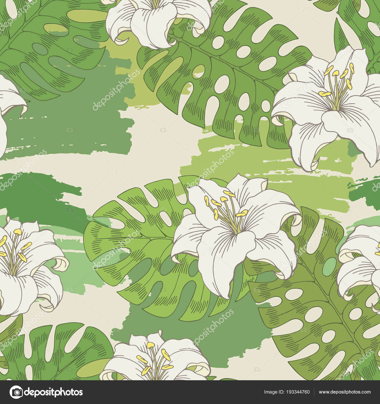 Lily flower graphic white green color seamless pattern sketch ...
