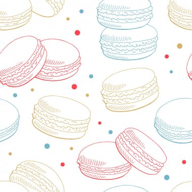 Macaroon graphic color sketch seamless pattern background illustration vector