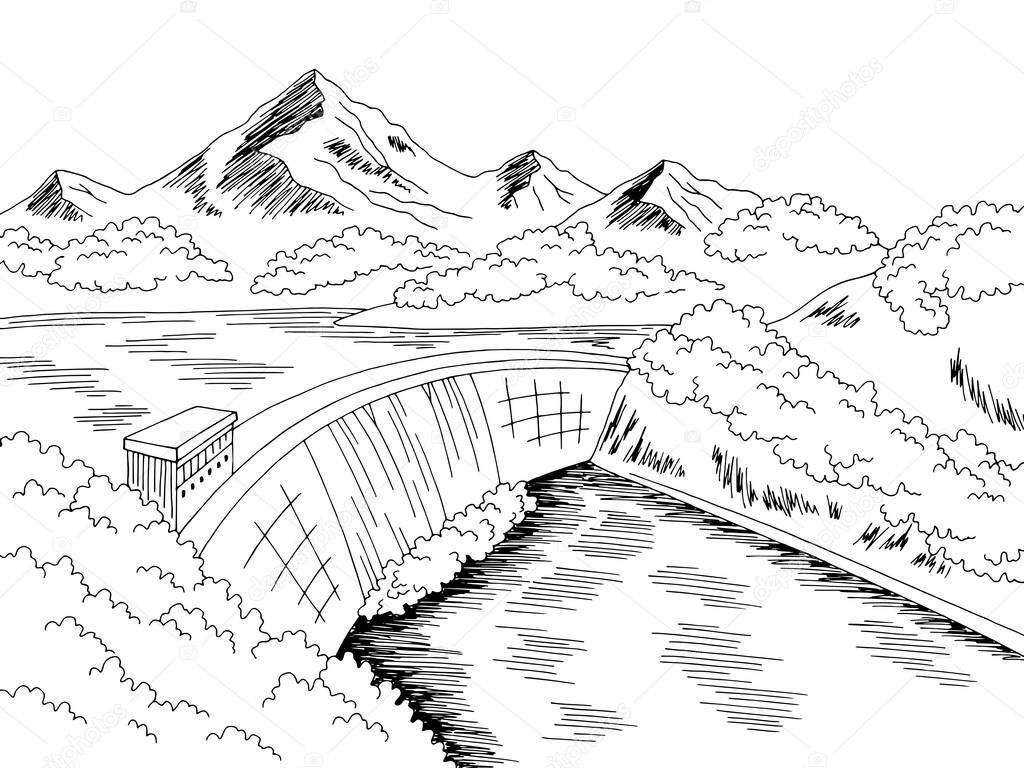dam hydropower river graphic black white landscape sketch illustration vector premium vector in adobe illustrator ai ai format encapsulated postscript eps eps format wdrfree