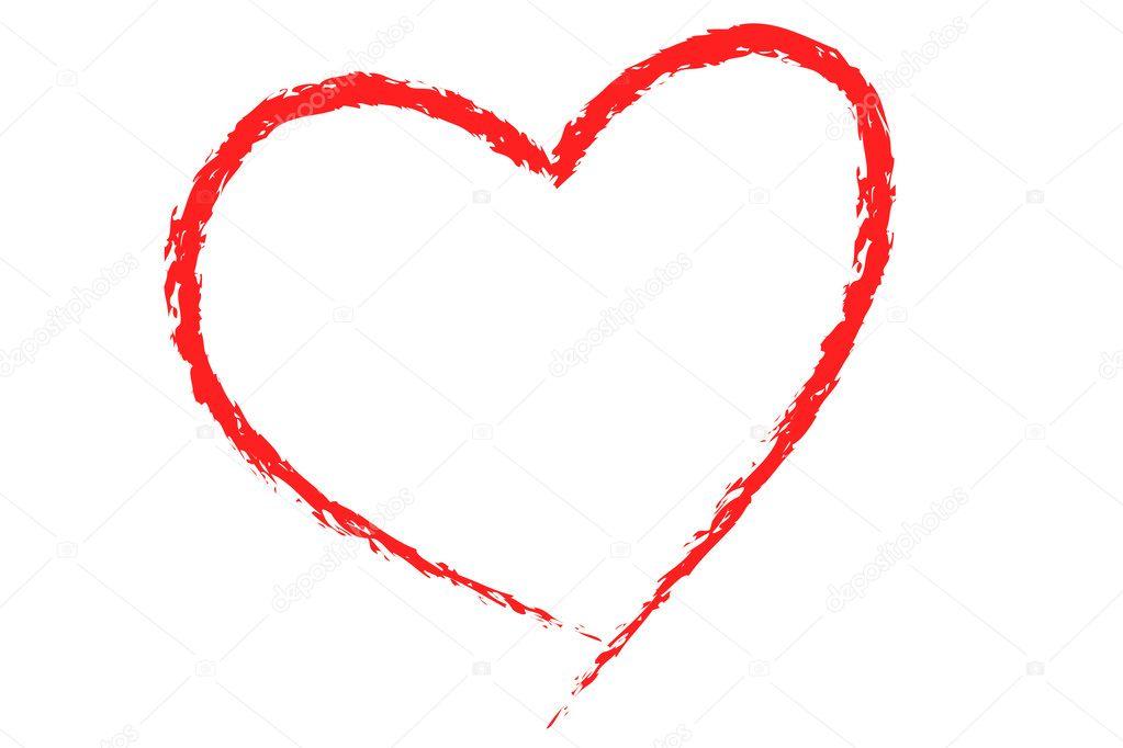 Kalp Illüstrasyon Kırmızı üzerine Beyaz çizim Stok Foto