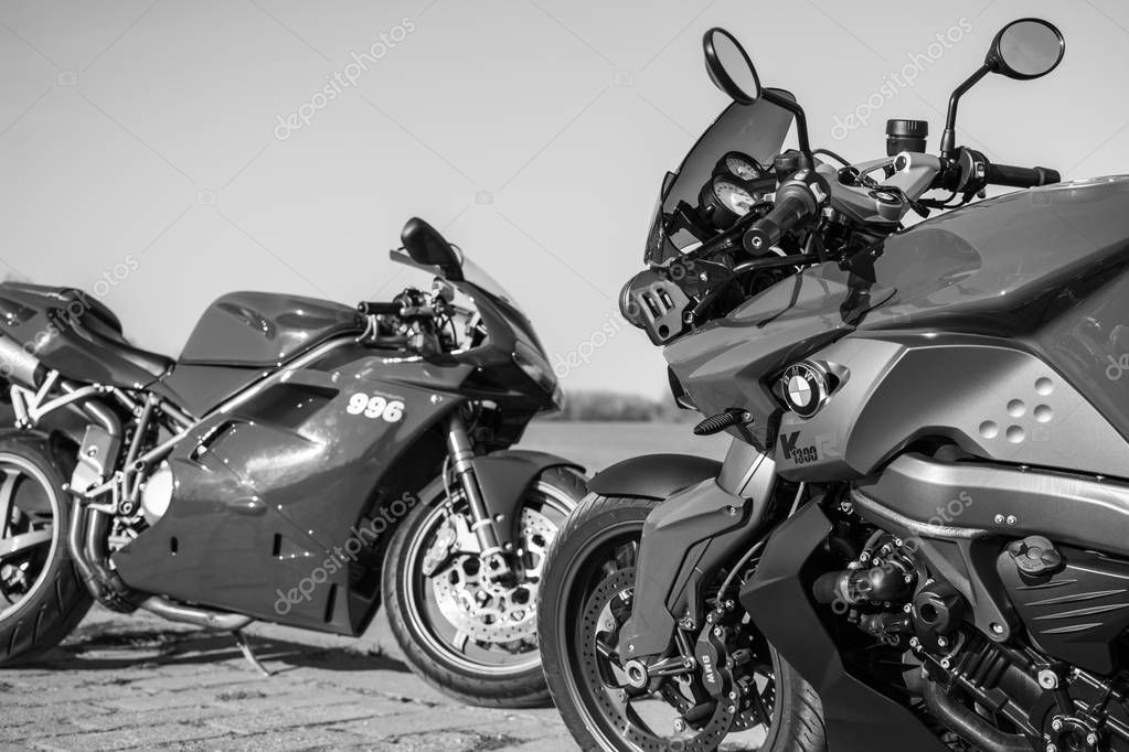 Sport BMW and Ducati Motorcycles photographed outdoors