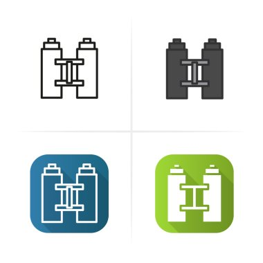 Binoculars icon. Flat, linear and color styles.