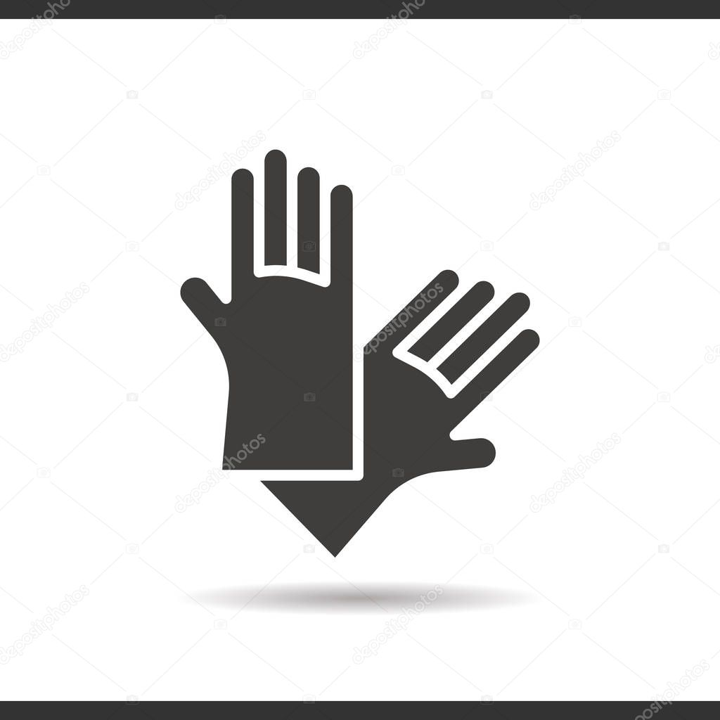 Latex Gloves Icon Drop Shadow Silhouette Symbol Stock Vector
