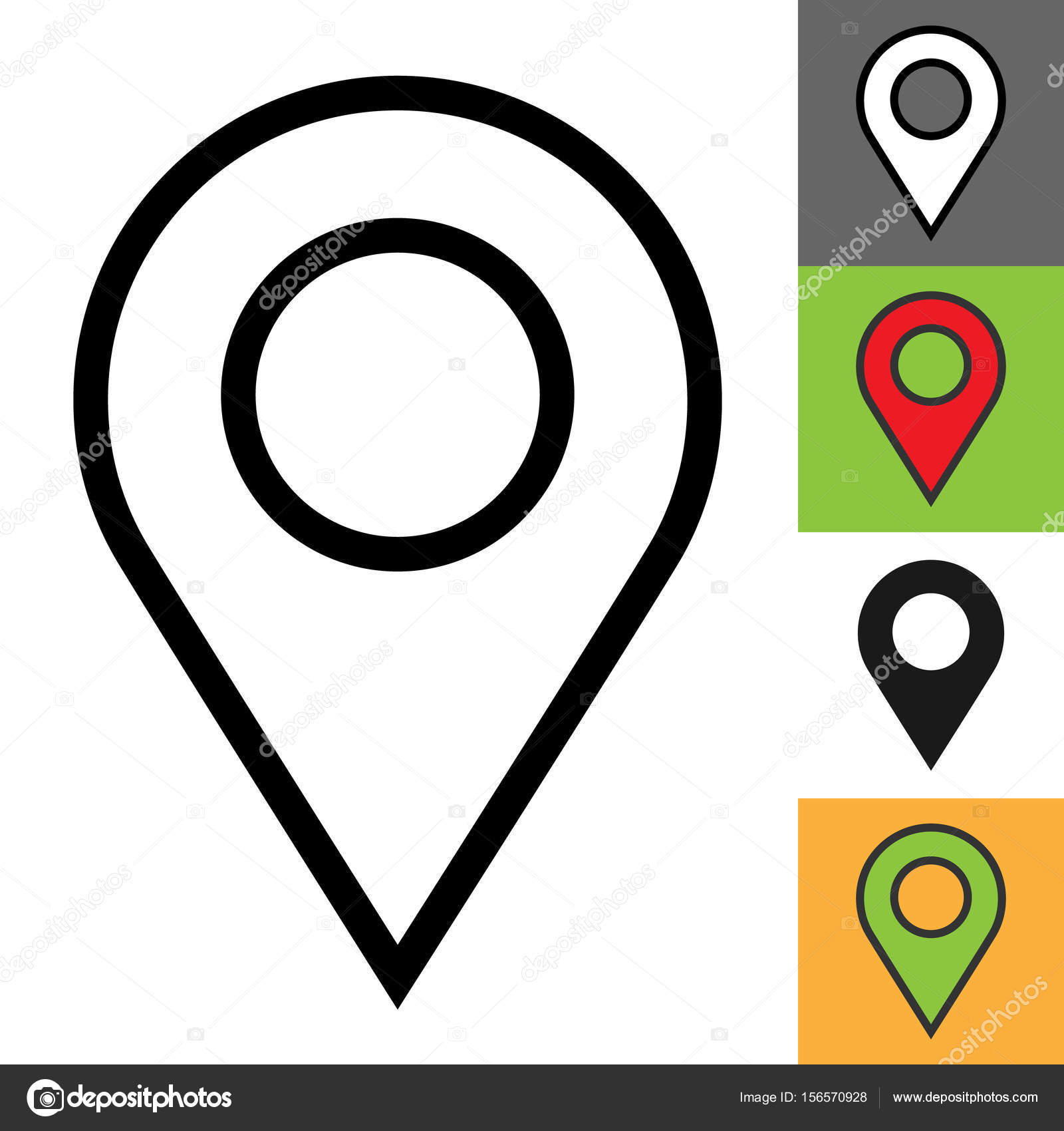 Location pin icon Simple outline location pin vector icon on white
