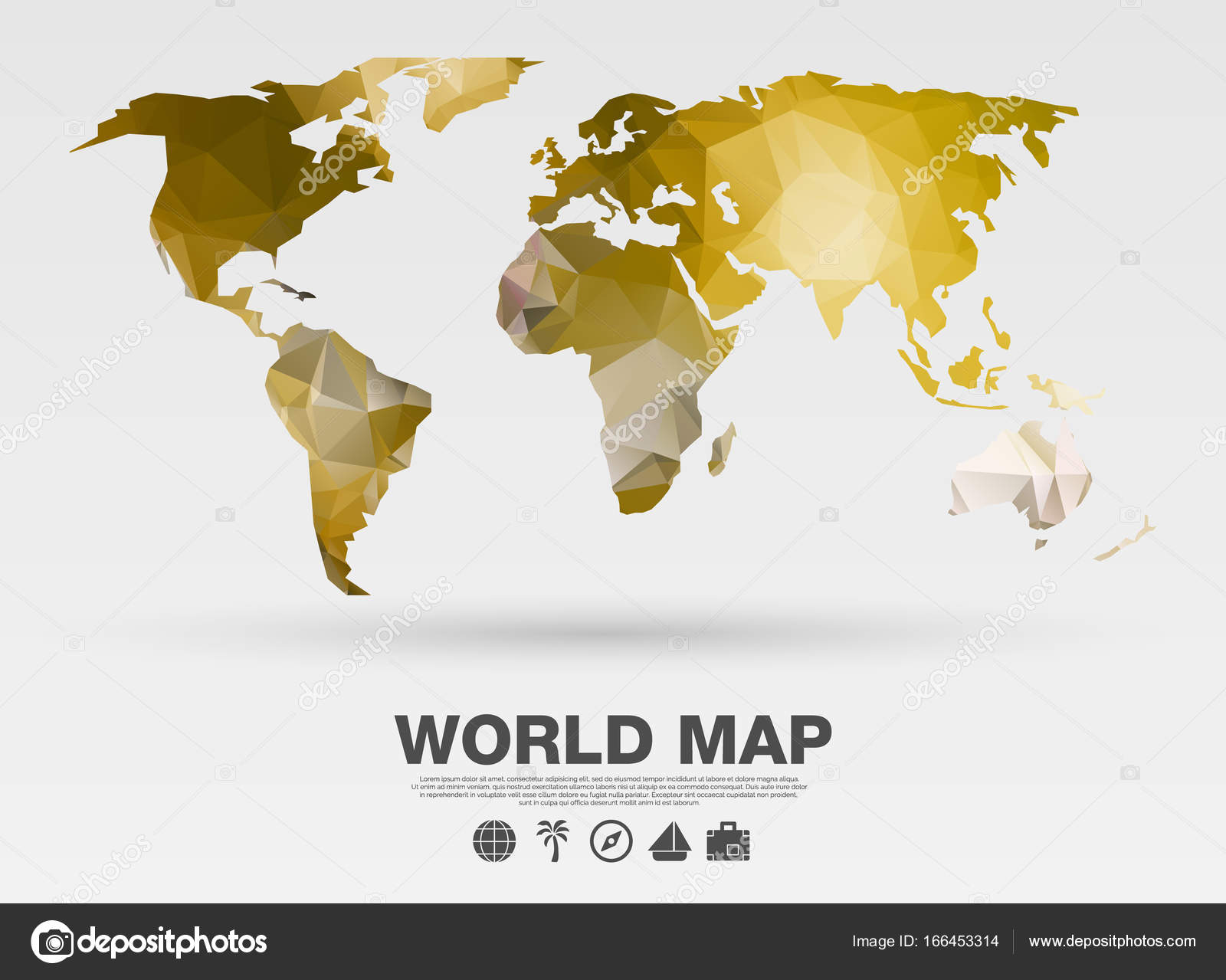 World map background in polygonal style vector background gold world map background in polygonal style vector background gold color stock vector gumiabroncs