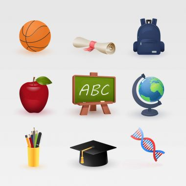 Education and learning color icons set, modern vector collection of high school objects and college items, teaching symbols and educational equipment. Isolated on white background.