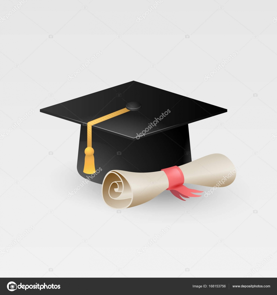 graduation cap with paper scroll diploma vector isolated on white