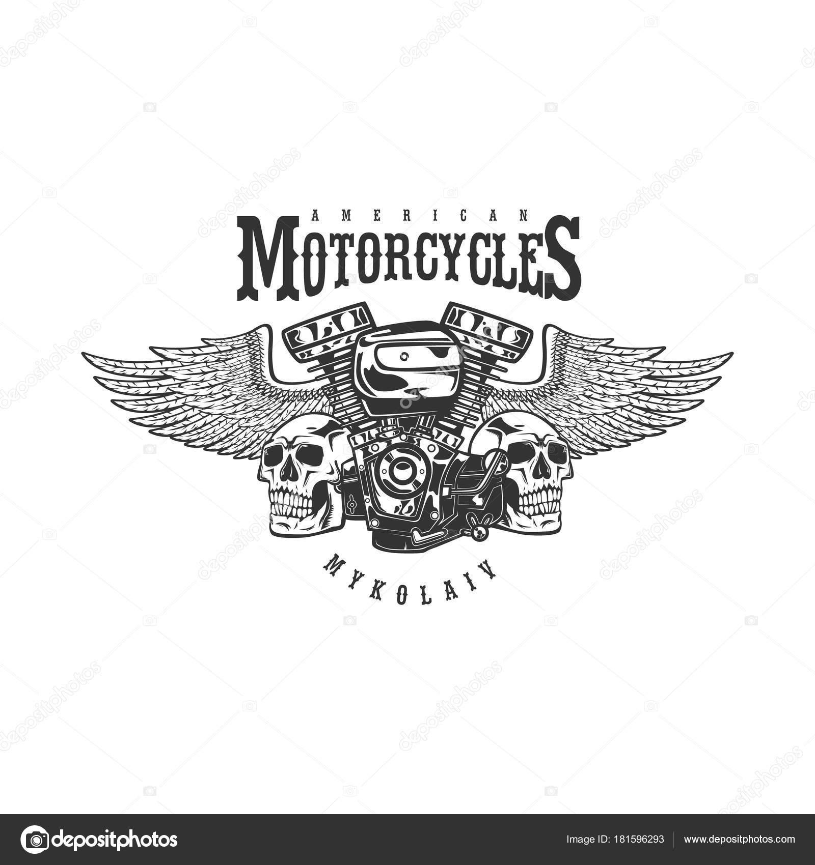 Emblema de motocicleta custom vintage, etiqueta, insignia, insignia ...