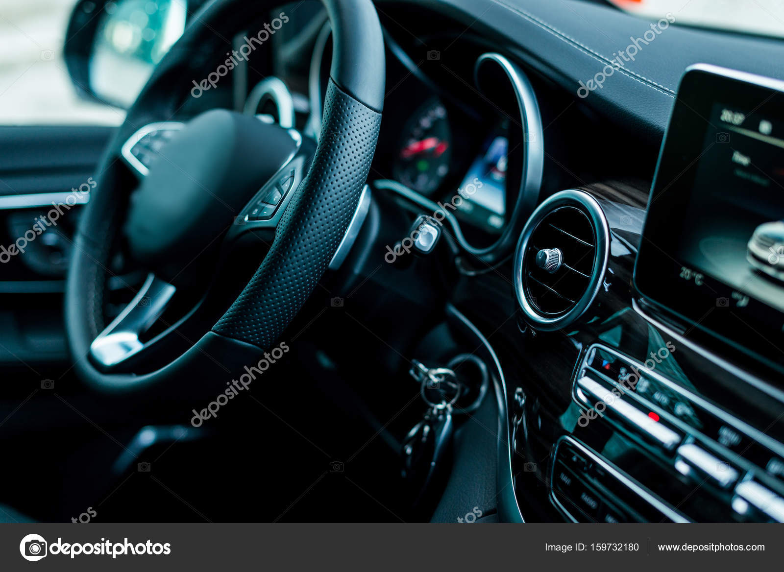 Auto Luxury Car Steering Wheel And Dashboard Stock Photo