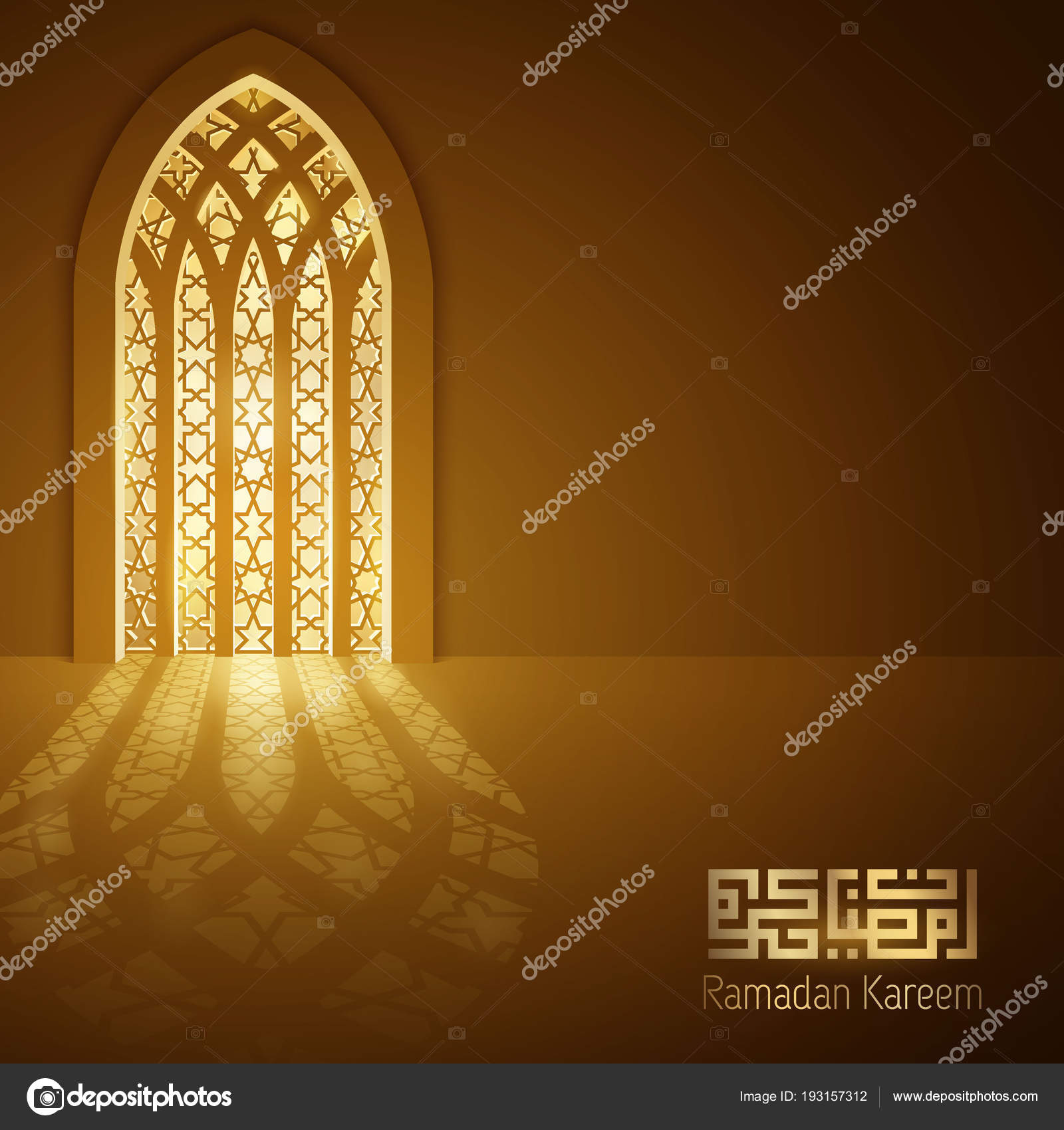 Ramadan Kareem Greeting Golden Background Glow Islamic Mosque Door Arabic u2014 Stock Vector & Ramadan Kareem Greeting Golden Background Glow Islamic Mosque Door ...