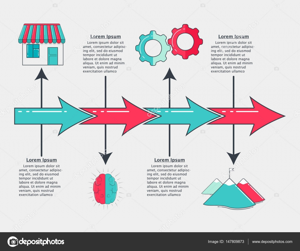 Plantilla de línea de tiempo infografías con flecha colorido ...