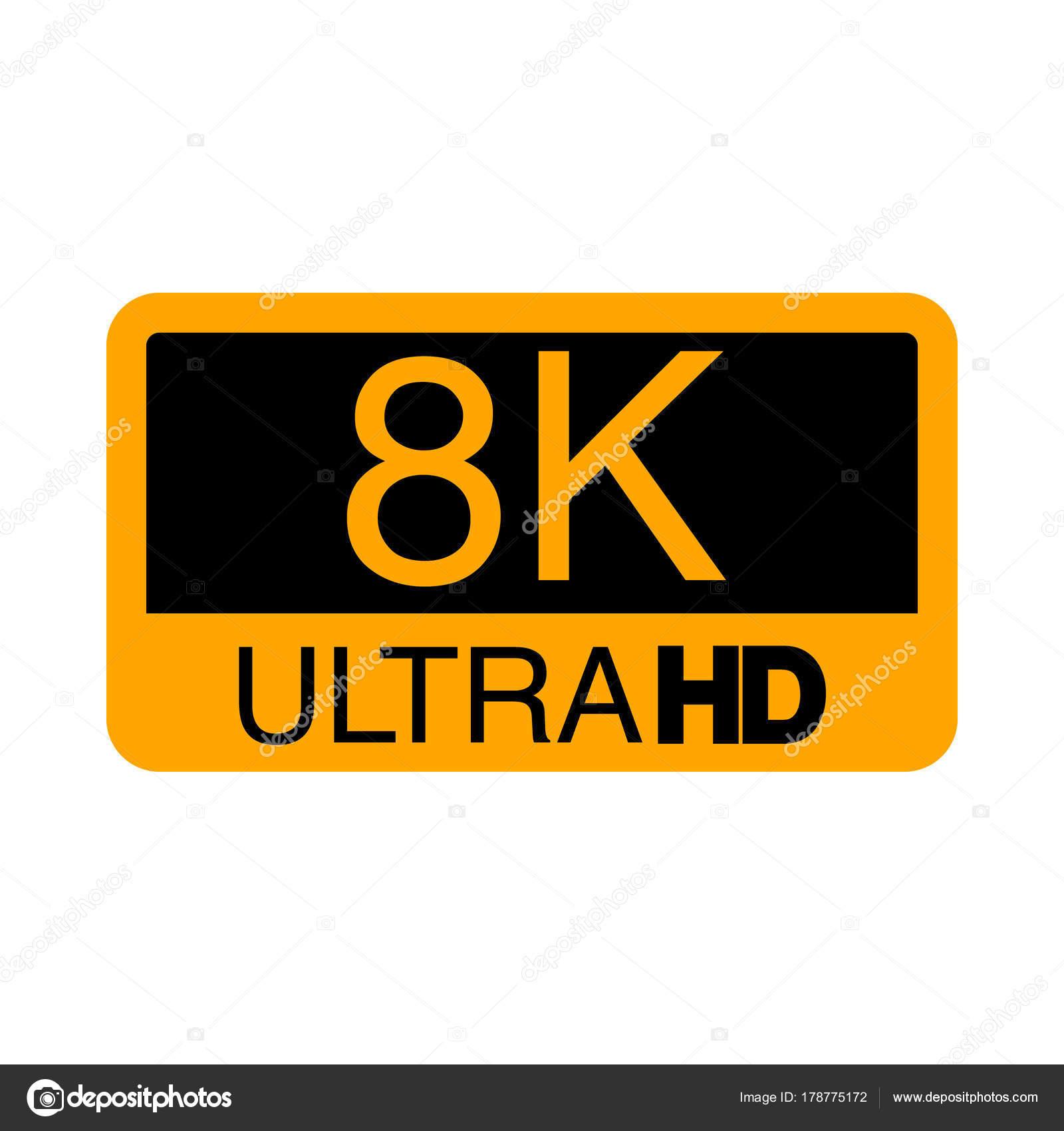 logo 8k ultra hd. vector illustration of 8k video. — stock vector