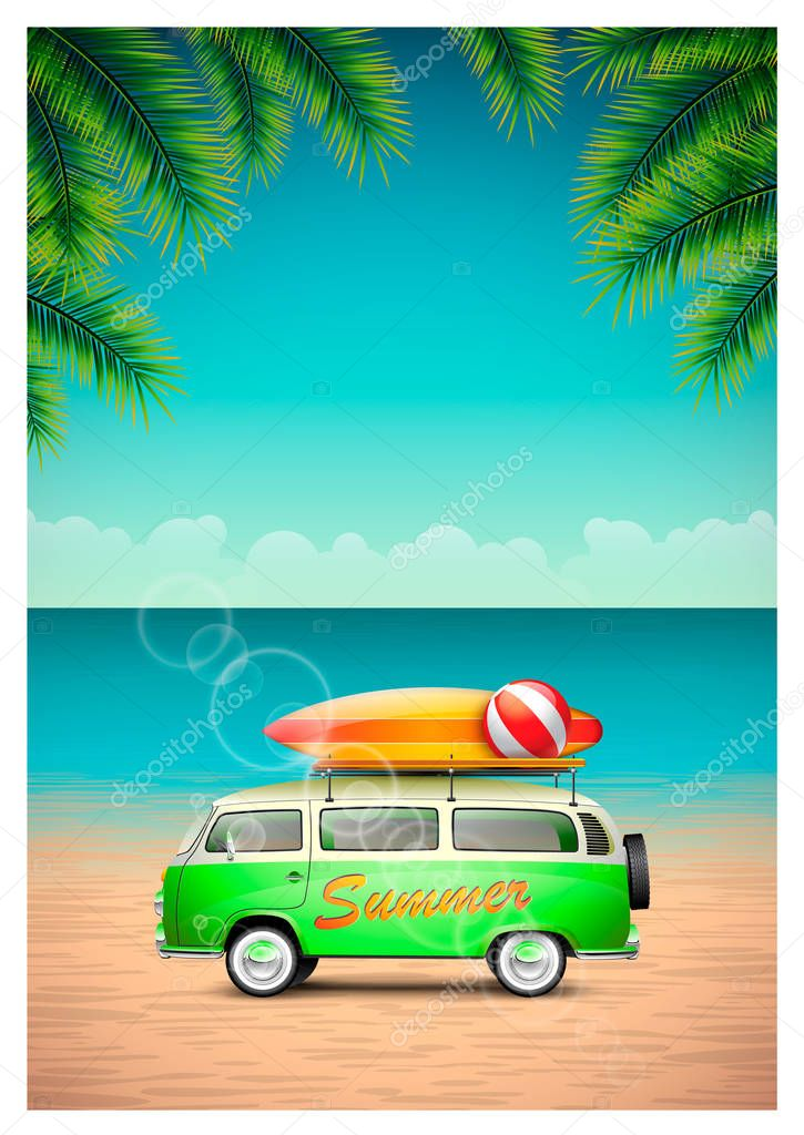 Vector Summer Beach Design with travel van and surfboard on ocean landscape background.