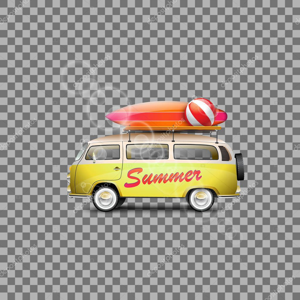 Vector car for travel. The best solution for the design on the Summer theme.