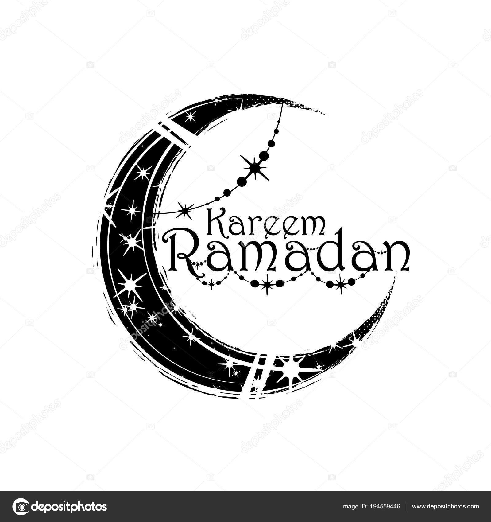 Ramadan kareem islamic greeting arabic calligraphy and moon with a ramadan kareem islamic greeting arabic calligraphy and moon with a pattern and decoration stock vector m4hsunfo