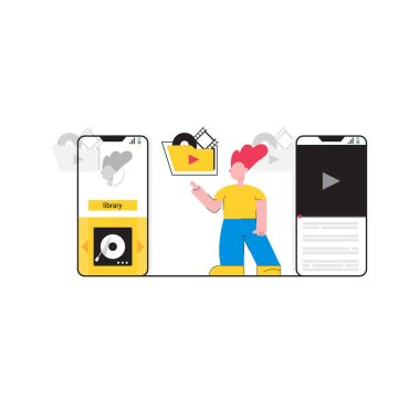 Man listening favorite media files vector illustration. Cartoon guy standing near modern gadgets and pressing button play flat style concept. - Vector