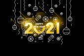 Happy new year 2021 design template. Design for calendar, greeting cards or print. Seasonal holidays flayers, greetings and invitations, Christmas themed congratulations and cards.