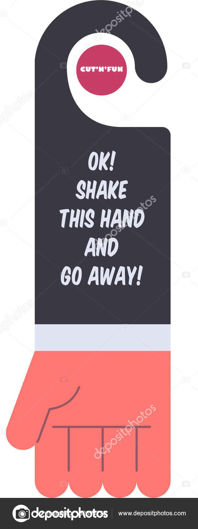 Lustige Tür Aufhänger Design Stilisierte Hand Mit Bizarren Text ...
